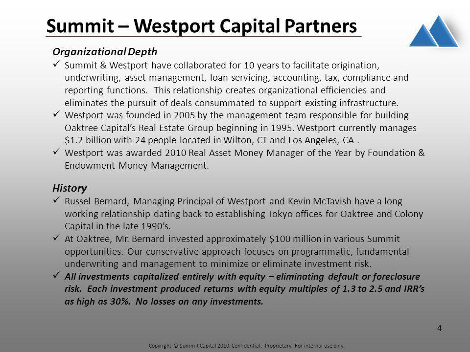 Copyright © Summit Capital 2010. Confidential. Proprietary.