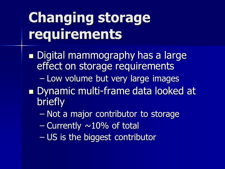 Changing storage requirements Digital mammography has a large effect on storage requirements Digital mammography has a large effect on storage require