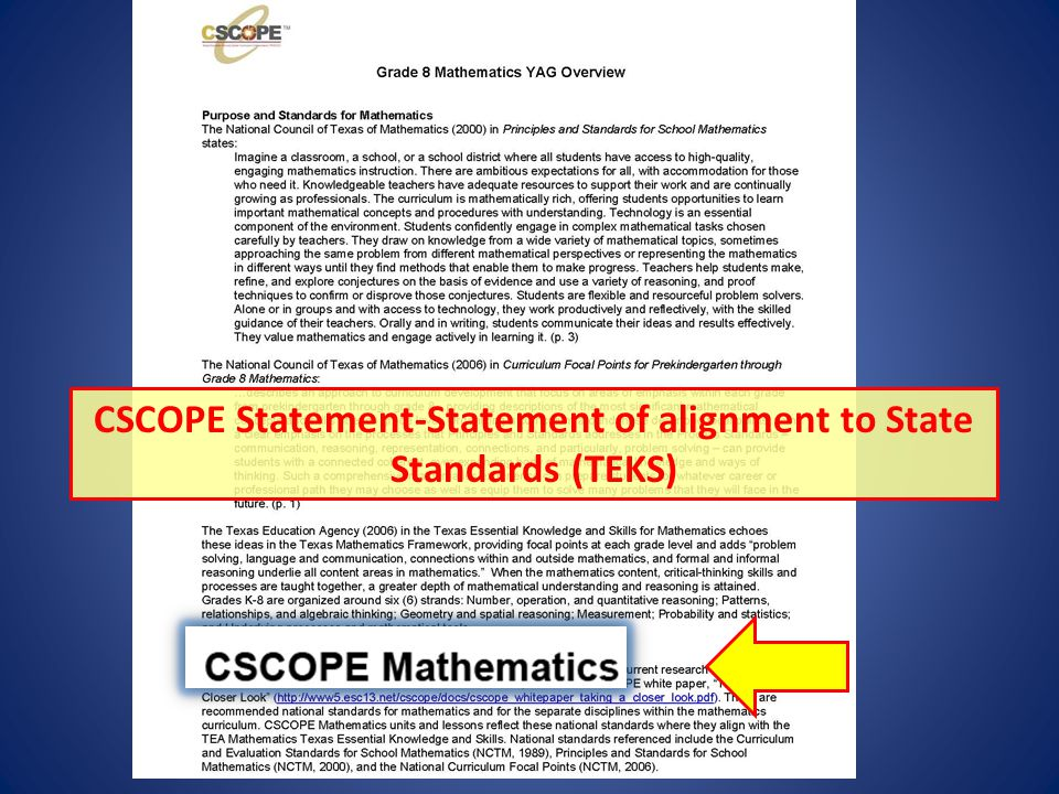 CSCOPE Statement-Statement of alignment to State Standards (TEKS)