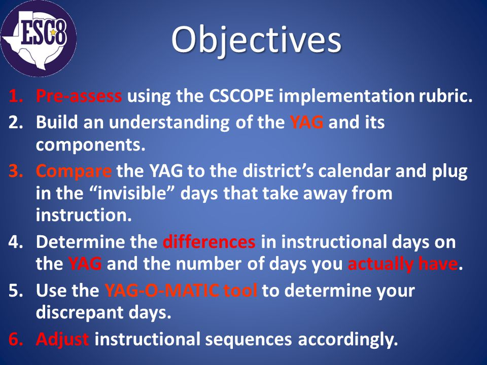 Objectives 1.Pre-assess using the CSCOPE implementation rubric.