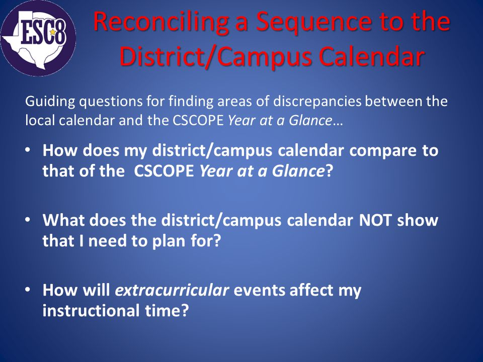 Reconciling a Sequence to the District/Campus Calendar How does my district/campus calendar compare to that of the CSCOPE Year at a Glance.