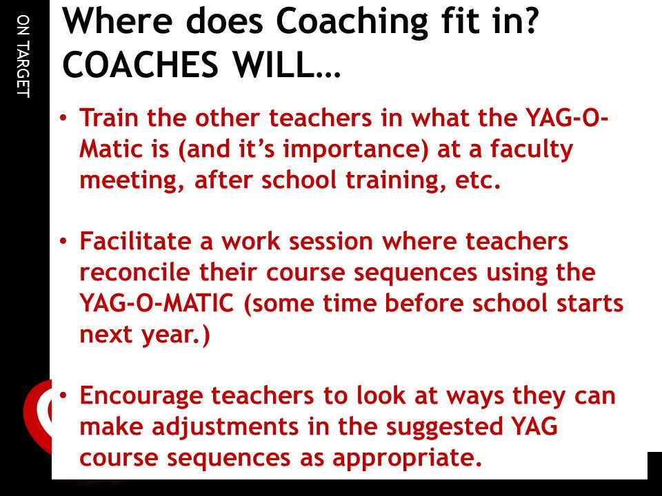 ON TARGET Where does Coaching fit in? COACHES WILL… Train the other teachers in what the YAG-O- Matic is (and it's importance) at a faculty meeting, a