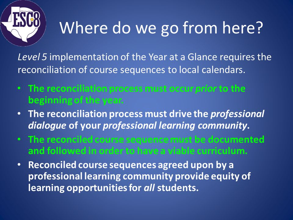 Where do we go from here? The reconciliation process must occur prior to the beginning of the year. The reconciliation process must drive the professi