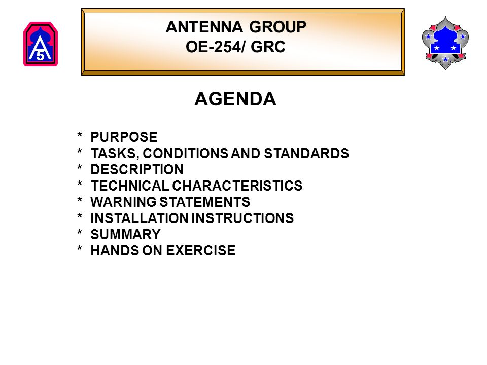 A 5 Antenna Group OE-254/GRC PURPOSE Provide in-depth training and evaluation in the installation of Antenna Group OE-254/GRC.