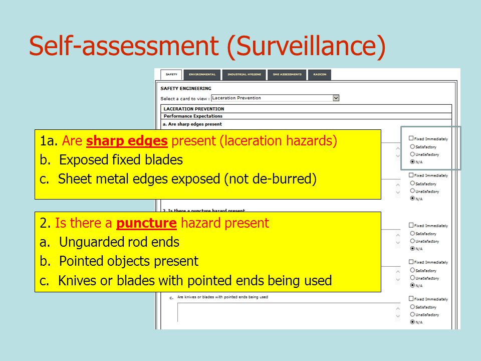 Self-assessment (Surveillance) 1a.Are sharp edges present (laceration hazards) b.