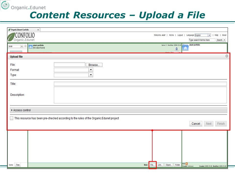 Content Resources – Upload a File