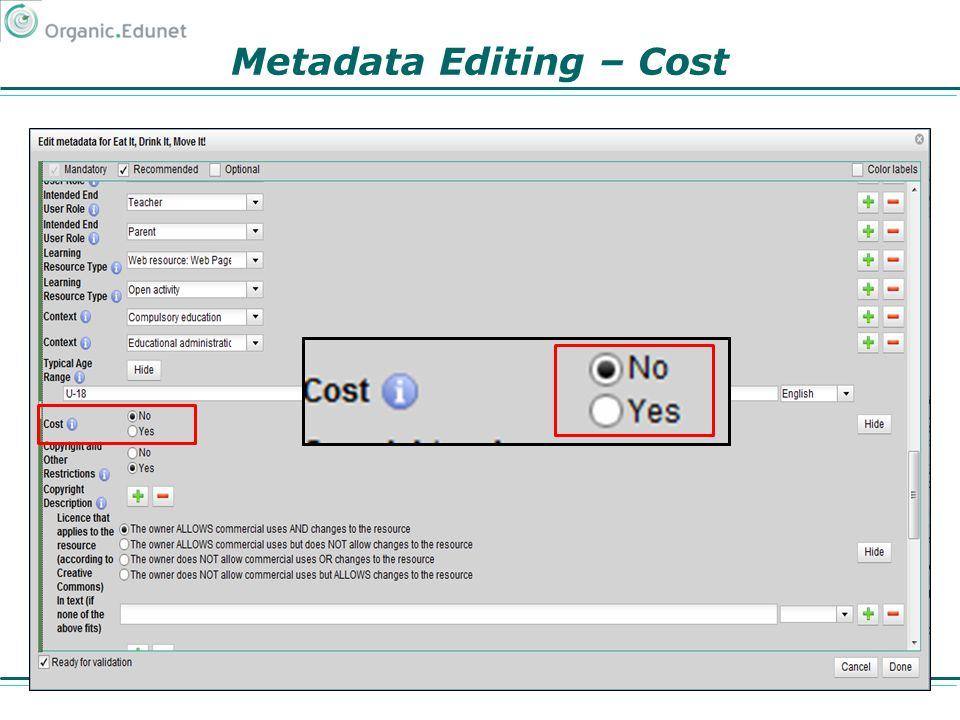 Metadata Editing – Cost