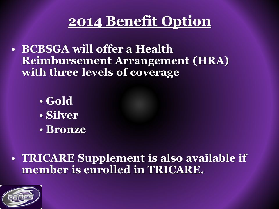 2014 Benefit Option BCBSGA will offer a Health Reimbursement Arrangement (HRA) with three levels of coverageBCBSGA will offer a Health Reimbursement Arrangement (HRA) with three levels of coverage GoldGold SilverSilver BronzeBronze TRICARE Supplement is also available if member is enrolled in TRICARE.TRICARE Supplement is also available if member is enrolled in TRICARE.