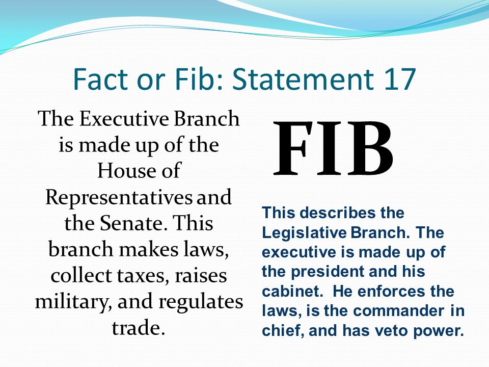 Fact or Fib: Statement 17 The Executive Branch is made up of the House of Representatives and the Senate. This branch makes laws, collect taxes, raise