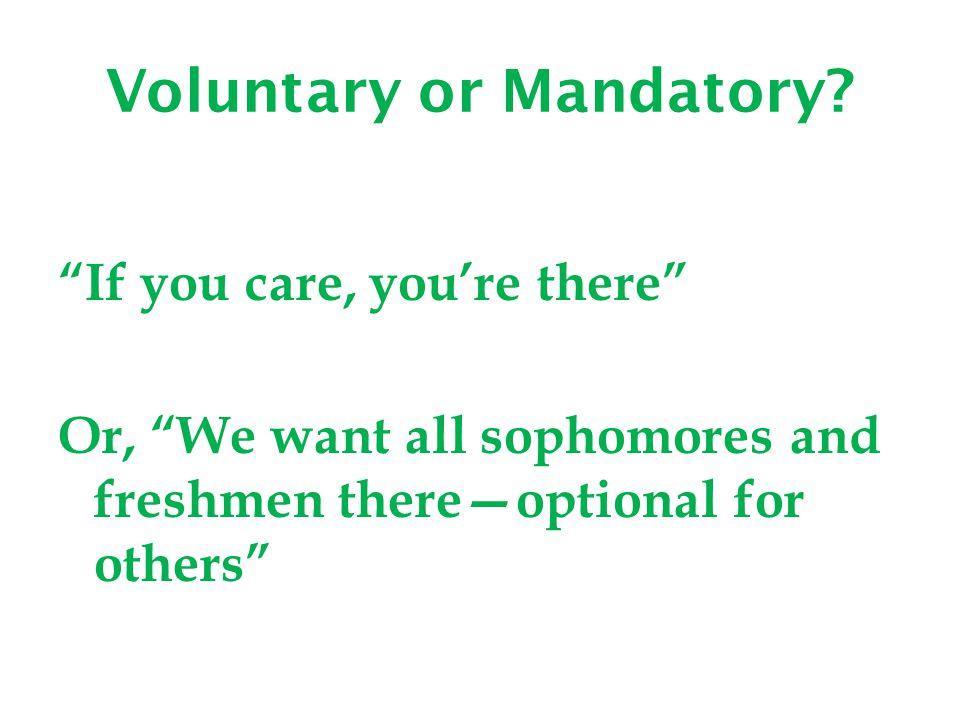 Voluntary or Mandatory.