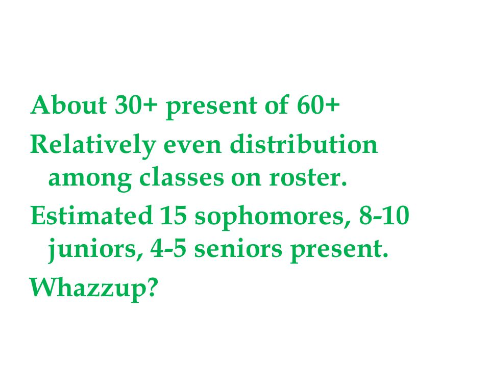 About 30+ present of 60+ Relatively even distribution among classes on roster.