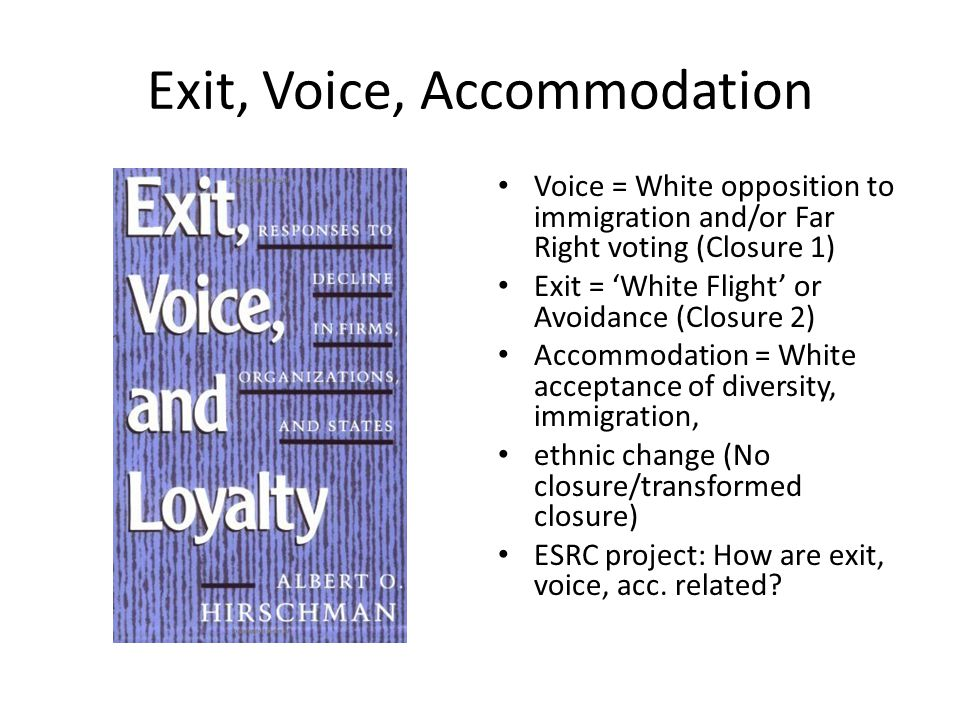 Exit, Voice, Accommodation Voice = White opposition to immigration and/or Far Right voting (Closure 1) Exit = 'White Flight' or Avoidance (Closure 2) Accommodation = White acceptance of diversity, immigration, ethnic change (No closure/transformed closure) ESRC project: How are exit, voice, acc.