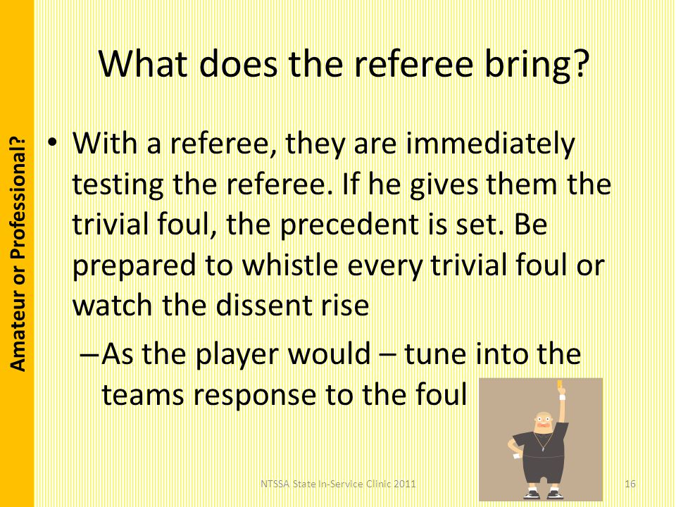 Amateur or Professional . What does the referee bring.