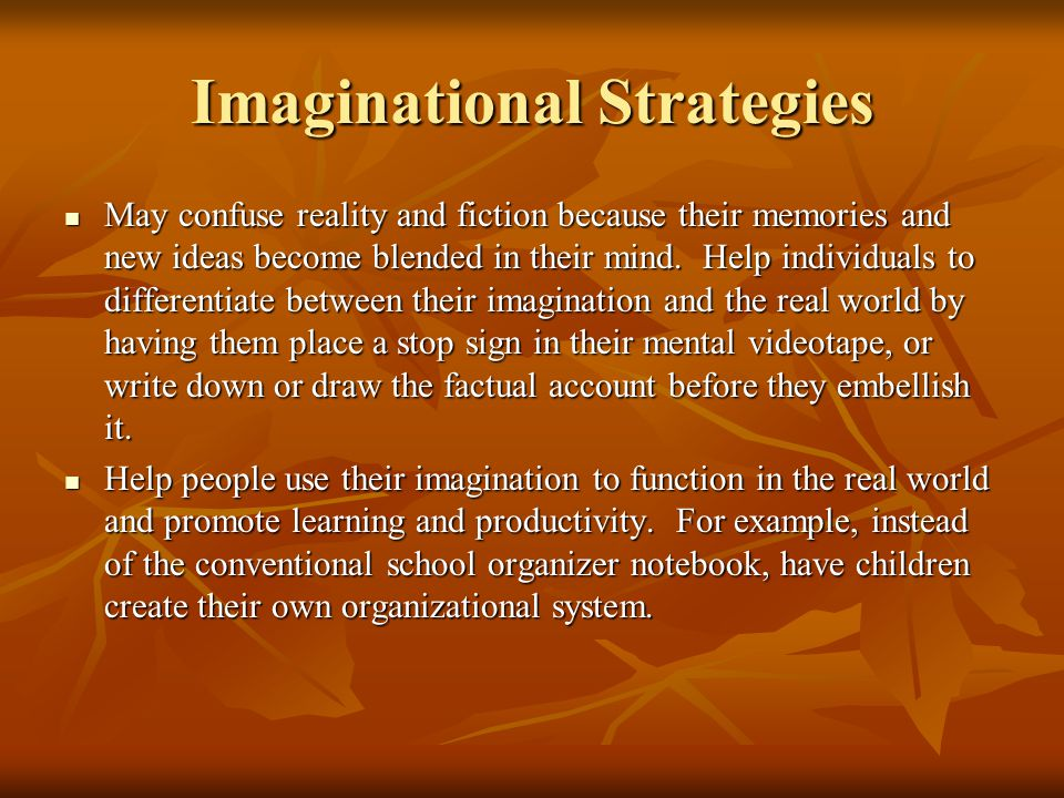 IMAGINATIONAL OVEREXCITABILITY Heightened play of the imagination Heightened play of the imagination Rich association of images and impressions Rich a