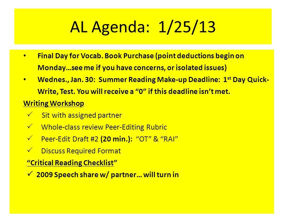 AL Agenda: 1/25/13 Final Day for Vocab.