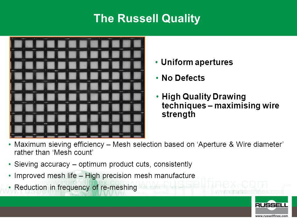 The Russell Quality Maximum sieving efficiency – Mesh selection based on 'Aperture & Wire diameter' rather than 'Mesh count' Sieving accuracy – optimu