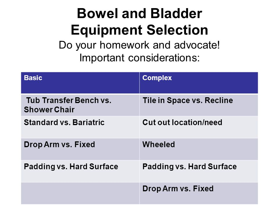 Bowel and Bladder Equipment Selection Do your homework and advocate.