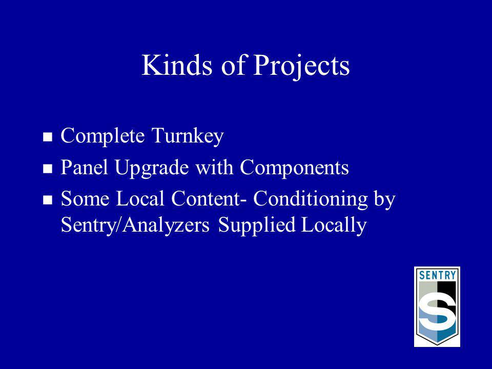 Kinds of Projects n Complete Turnkey n Panel Upgrade with Components n Some Local Content- Conditioning by Sentry/Analyzers Supplied Locally