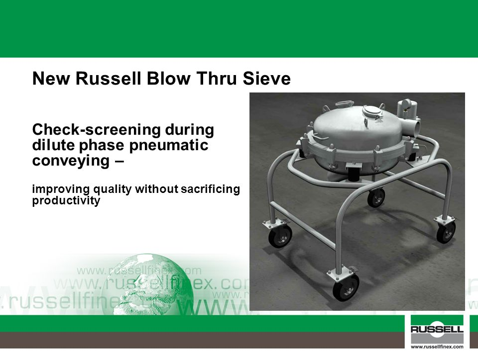 Check-screening during dilute phase pneumatic conveying – improving quality without sacrificing productivity New Russell Blow Thru Sieve