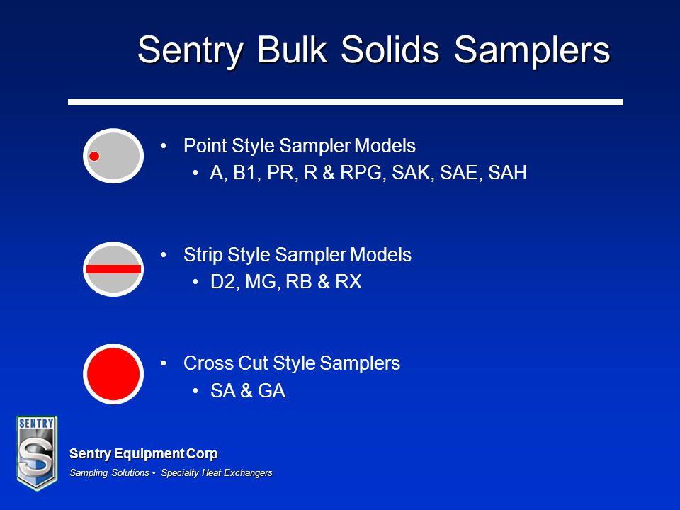 Sentry Equipment Corp Sampling Solutions Specialty Heat Exchangers Sentry Bulk Solids Samplers Point Style Sampler Models A, B1, PR, R & RPG, SAK, SAE