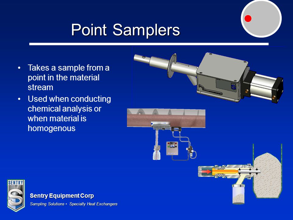 Sentry Equipment Corp Sampling Solutions Specialty Heat Exchangers Point Samplers Takes a sample from a point in the material stream Used when conduct