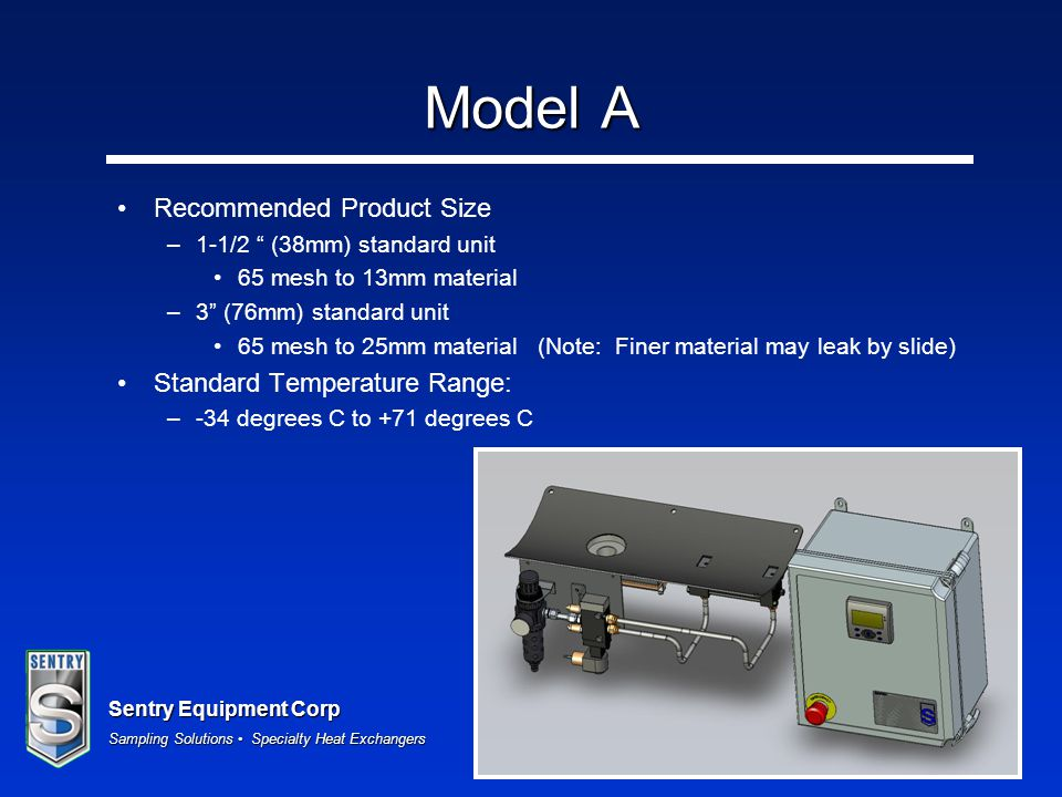 """Sentry Equipment Corp Sampling Solutions Specialty Heat Exchangers Model A Recommended Product Size –1-1/2 """" (38mm) standard unit 65 mesh to 13mm mate"""