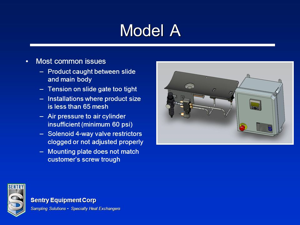 Sentry Equipment Corp Sampling Solutions Specialty Heat Exchangers Model A Most common issues –Product caught between slide and main body –Tension on