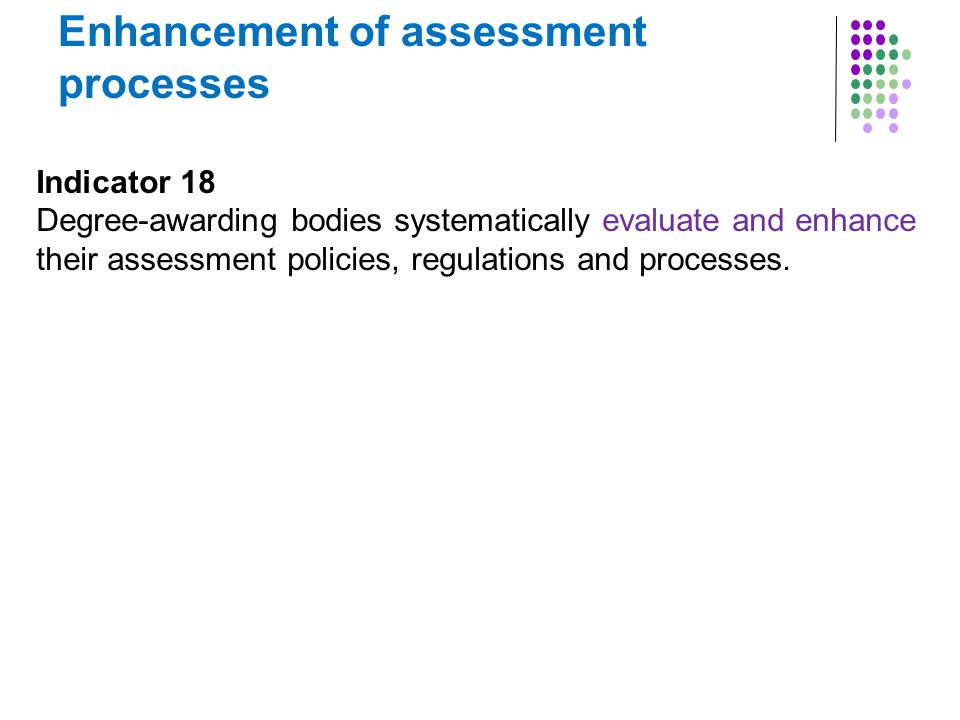 Enhancement of assessment processes Indicator 18 Degree-awarding bodies systematically evaluate and enhance their assessment policies, regulations and