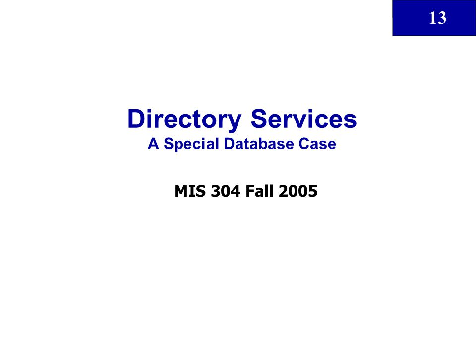13 Directory Services A Special Database Case MIS 304 Fall 2005