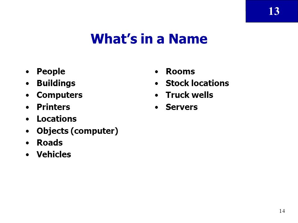 13 14 What's in a Name People Buildings Computers Printers Locations Objects (computer) Roads Vehicles Rooms Stock locations Truck wells Servers