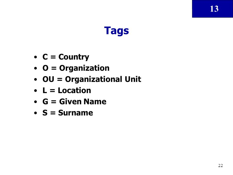 13 22 Tags C = Country O = Organization OU = Organizational Unit L = Location G = Given Name S = Surname