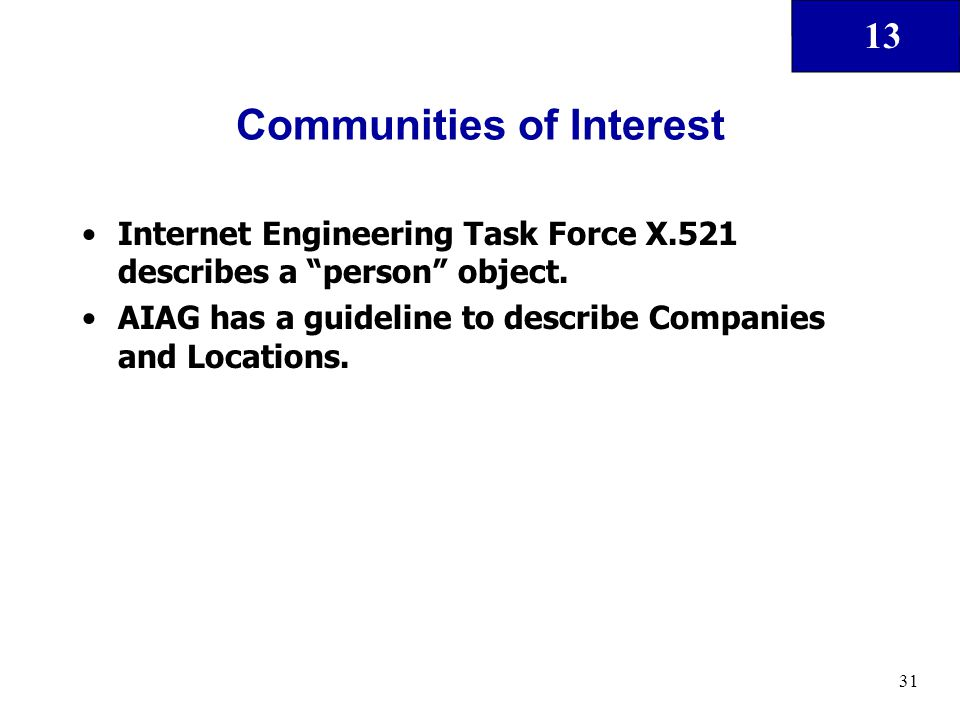 "13 31 Communities of Interest Internet Engineering Task Force X.521 describes a ""person"" object. AIAG has a guideline to describe Companies and Locati"