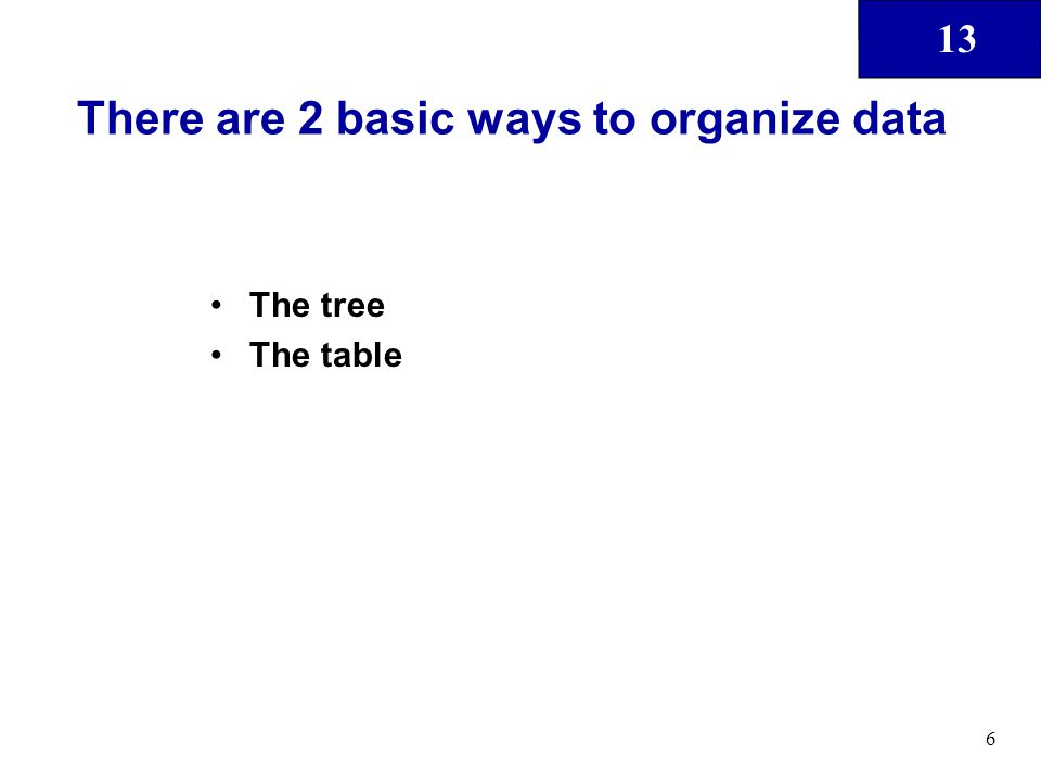 13 6 There are 2 basic ways to organize data The tree The table