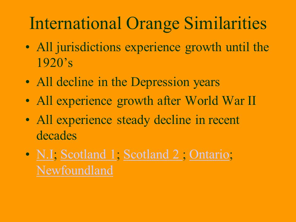 International Orange Similarities All jurisdictions experience growth until the 1920's All decline in the Depression years All experience growth after