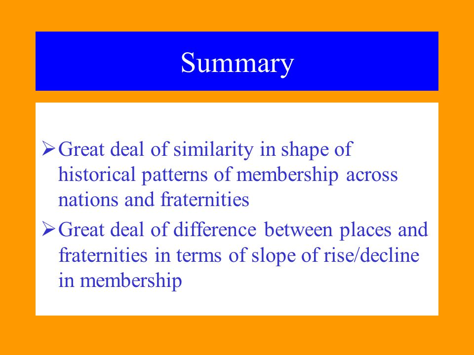Summary  Great deal of similarity in shape of historical patterns of membership across nations and fraternities  Great deal of difference between pl