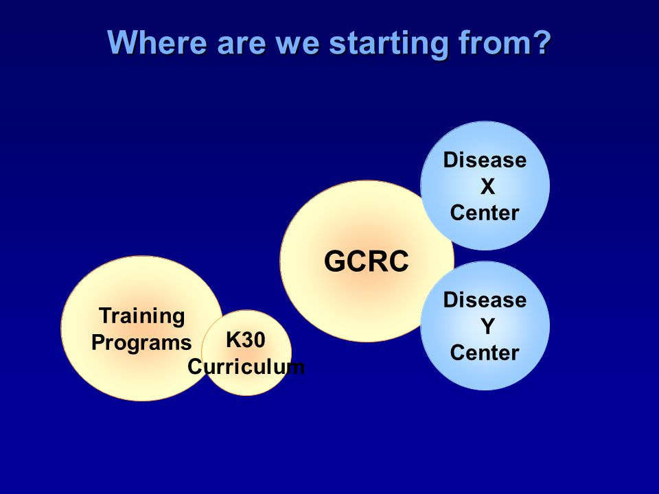 Where are we starting from Training Programs K30 Curriculum GCRC Disease X Center Disease Y Center