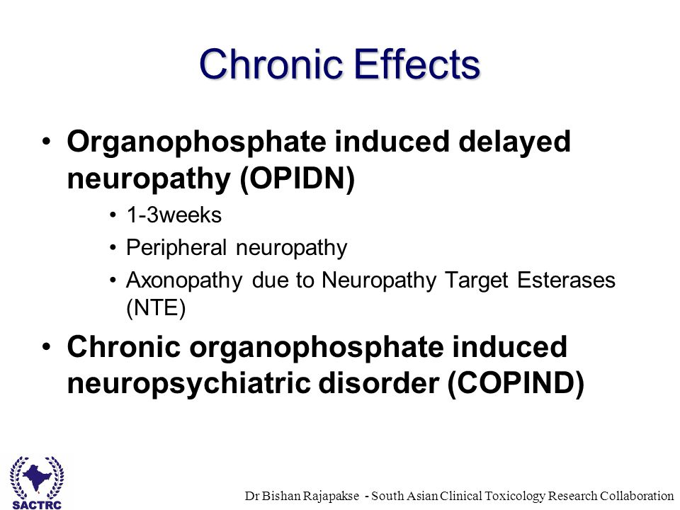 Dr Bishan Rajapakse - South Asian Clinical Toxicology Research Collaboration Chronic Effects Organophosphate induced delayed neuropathy (OPIDN) 1-3weeks Peripheral neuropathy Axonopathy due to Neuropathy Target Esterases (NTE) Chronic organophosphate induced neuropsychiatric disorder (COPIND)