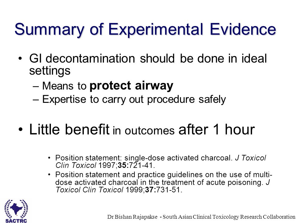 Dr Bishan Rajapakse - South Asian Clinical Toxicology Research Collaboration Summary of Experimental Evidence GI decontamination should be done in ideal settings –Means to protect airway –Expertise to carry out procedure safely Little benefit in outcomes after 1 hour Position statement: single-dose activated charcoal.