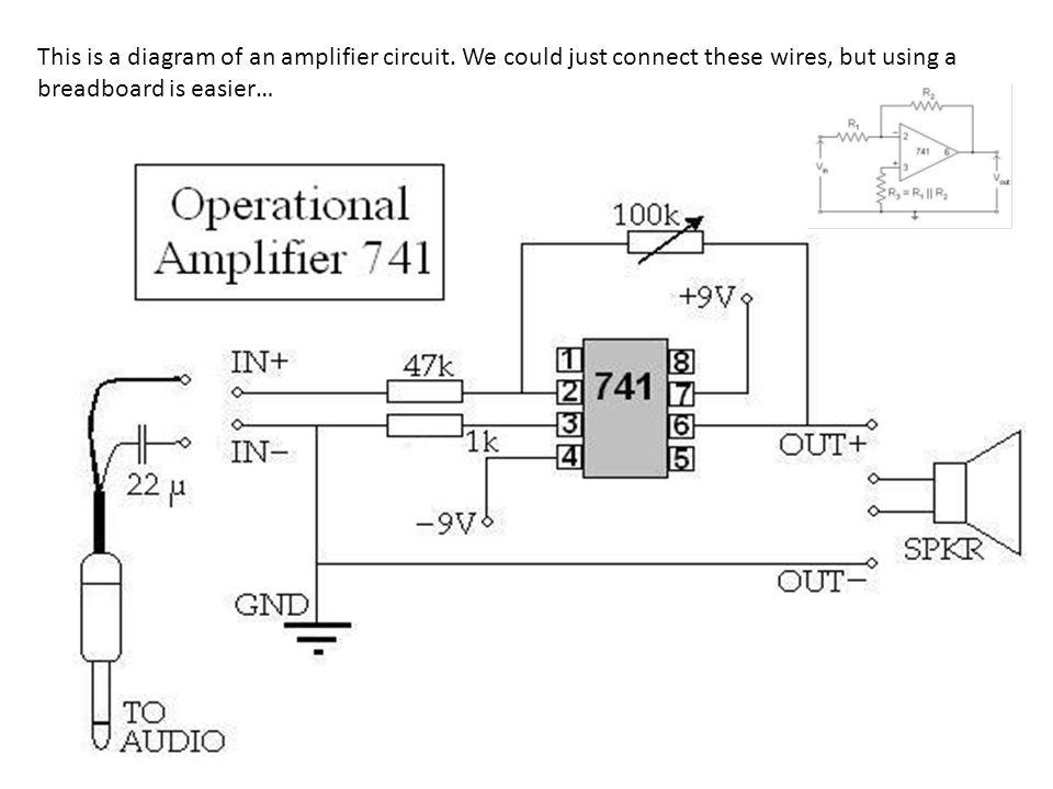 8 7 6 5 1 2 3 4 GROUND Variable Resistor audio input –9 V +9 V Power supply output to speaker + Terminal - Terminal
