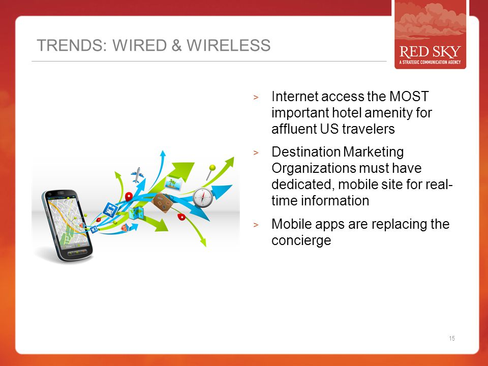 TRENDS: WIRED & WIRELESS  Internet access the MOST important hotel amenity for affluent US travelers  Destination Marketing Organizations must have dedicated, mobile site for real- time information  Mobile apps are replacing the concierge 15