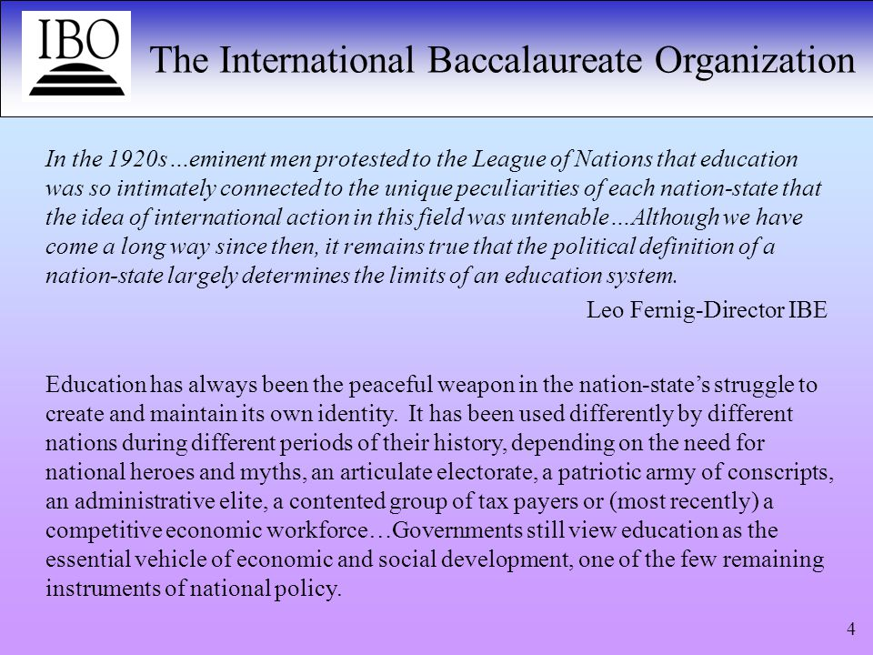 The International Baccalaureate Organization 15 The IB Diploma Programme has allowed many of our students to shine in ways that they would not in a more traditional advanced studies programme.