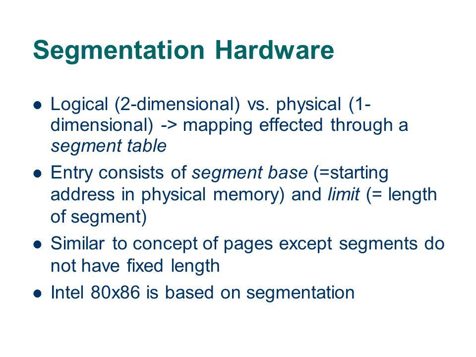 Segmentation Hardware Logical (2-dimensional) vs.