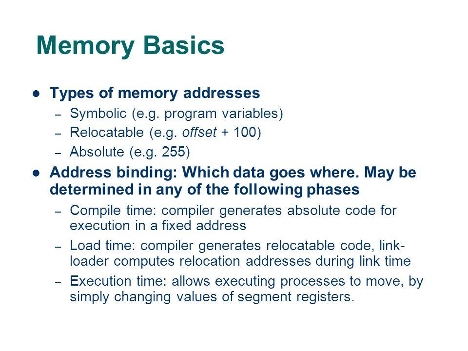 Memory Basics Types of memory addresses – Symbolic (e.g.