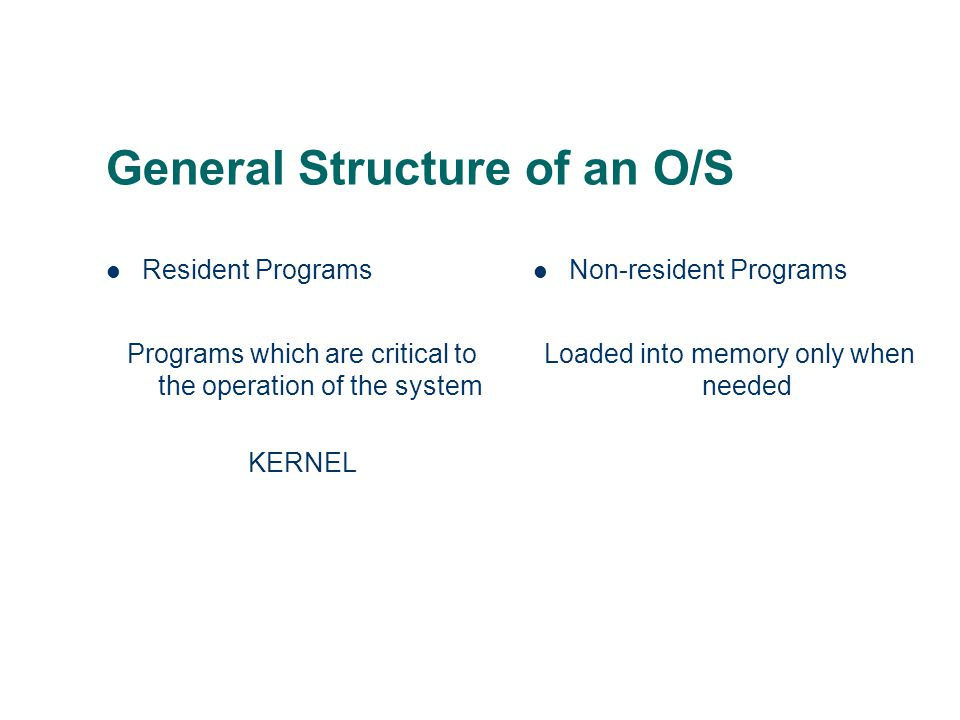 General Structure of an O/S Resident Programs Programs which are critical to the operation of the system KERNEL Non-resident Programs Loaded into memo