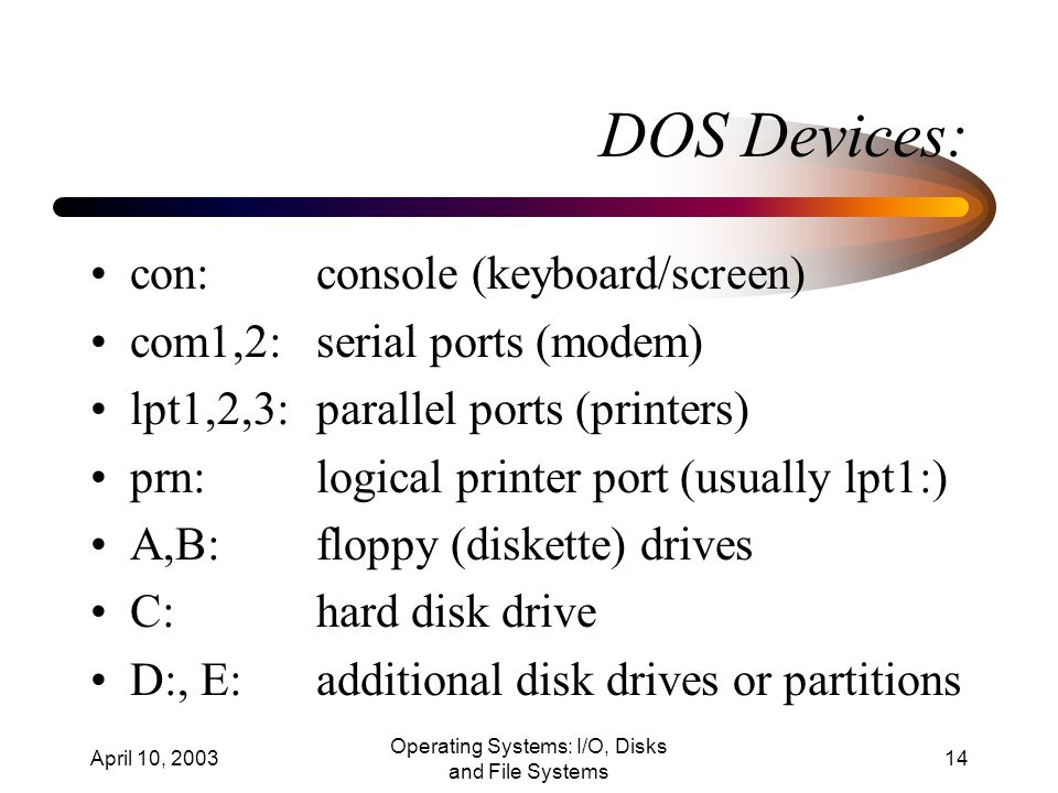 April 10, 2003 Operating Systems: I/O, Disks and File Systems 14 DOS Devices: con:console (keyboard/screen) com1,2:serial ports (modem) lpt1,2,3:parallel ports (printers) prn:logical printer port (usually lpt1:) A,B:floppy (diskette) drives C:hard disk drive D:, E:additional disk drives or partitions