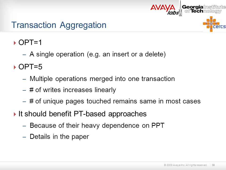 © 2009 Avaya Inc. All rights reserved. Transaction Aggregation  OPT=1 – A single operation (e.g.