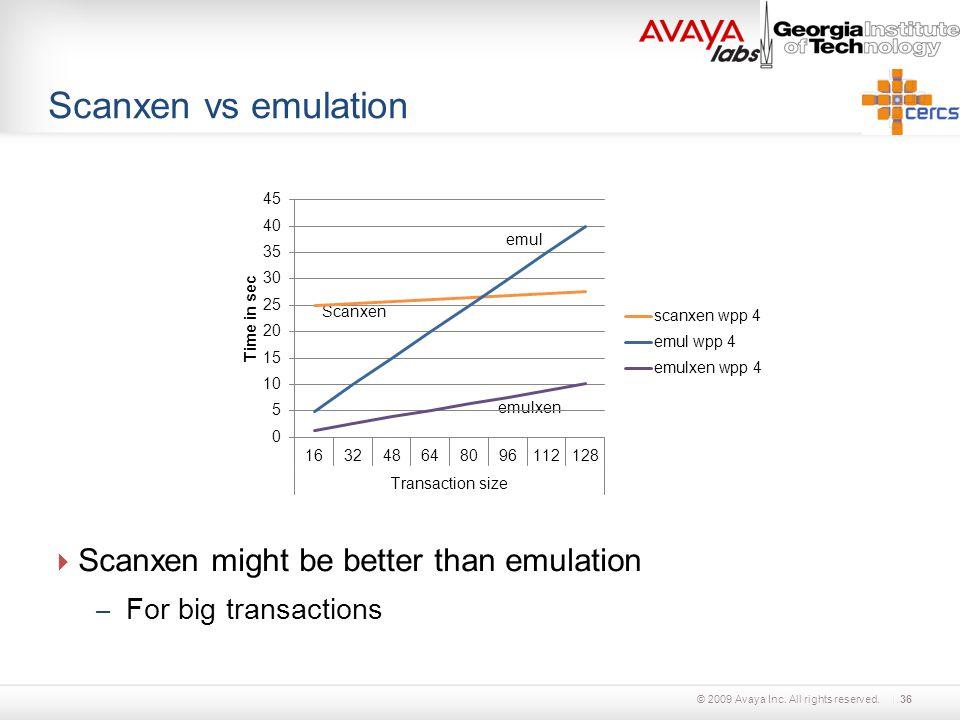 © 2009 Avaya Inc. All rights reserved. Scanxen vs emulation  Scanxen might be better than emulation – For big transactions 36 Scanxen emul emulxen
