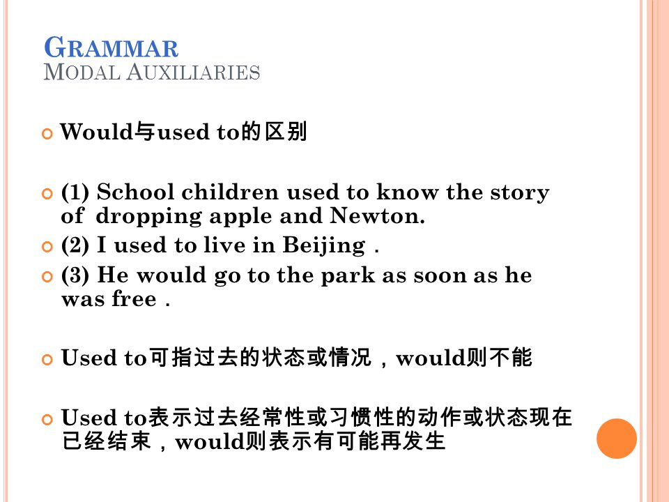 Would 与 used to 的区别 (1) School children used to know the story of dropping apple and Newton.