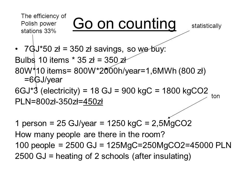 Go on counting 7GJ*50 zł = 350 zł savings, so we buy: Bulbs 10 items * 35 zł = 350 zł 80W*10 items= 800W*2000h/year=1,6MWh (800 zł) =6GJ/year 6GJ*3 (electricity) = 18 GJ = 900 kgC = 1800 kgCO2 PLN=800zł-350zł=450zł 1 person = 25 GJ/year = 1250 kgC = 2,5MgCO2 How many people are there in the room.