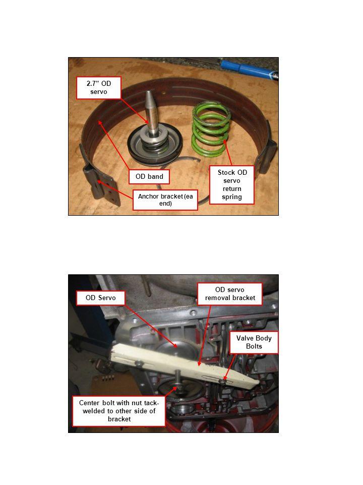 OD band 2.7 OD servo Stock OD servo return spring Anchor bracket (ea end) Center bolt with nut tack- welded to other side of bracket Valve Body Bolts OD Servo OD servo removal bracket